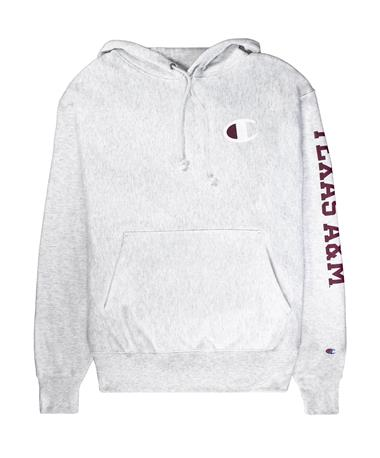 Texas A&M Champion Reserve Weave Hoodie - Front Silver Grey