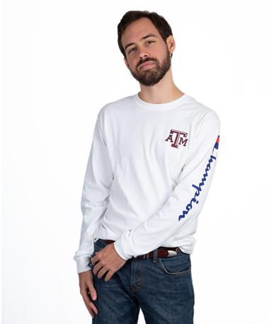 Champion Texas A&M Long Sleeve Tee - White - Front White