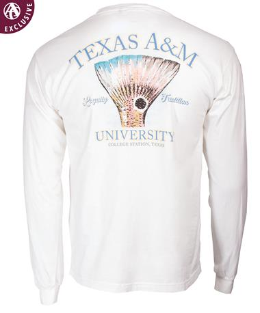 Texas A&M Aggies Red Fish Tail L/S TShir-back C4410 WHITE
