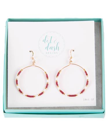 Maroon And White Morse Code Hoop Earrings MAROON