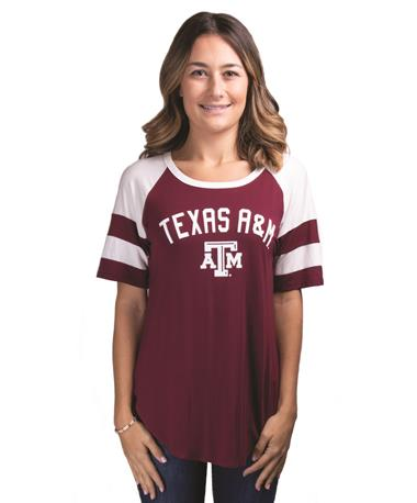 Texas A&M Avery Football Sleeve Stripe Tee Maroon/White