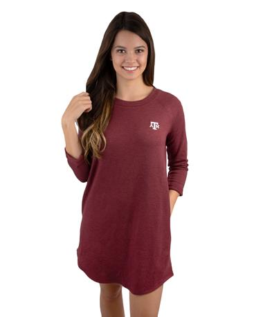 Madelyn Fleece 3/4 Rolled Sleeve Dress - Front Maroon/Heather Grey