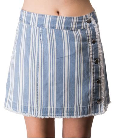 Ivanna Blue Button Up Stripped Skirt - Front Lake Blue