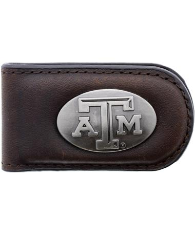 Texas A&M Zepplin Money Clip - Brown - Front BROWN
