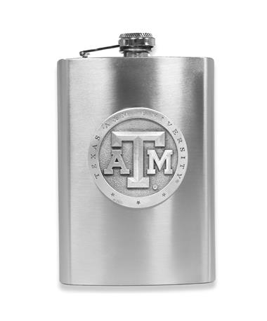Texas A&M Heritage Pewter Flask - Front Silver