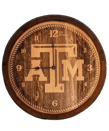 Texas A&M Aggie Wine Barrel Clock - Front TXAM