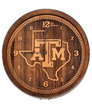 Texas A&M Lone Star Wine Barrel Clock - Front STATE