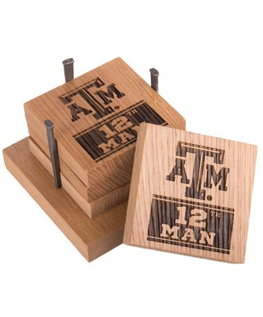 Texas A&M 12th Man Wine Barrel Coaster Set