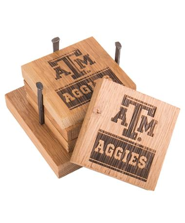 Texas A&M Aggies Wine Barrel Coaster Set