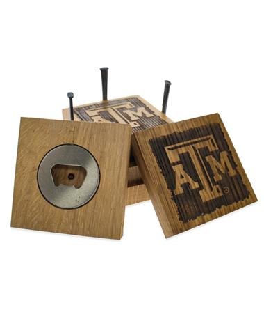 Texas A&M Beveled Logo Wine Barrel Coaster Set