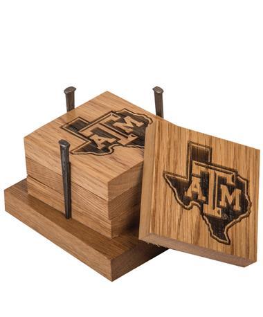 Texas A&M Lone Star Wine Barrel Coaster Set STATE