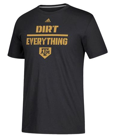 Adidas Texas A&M Dirt over Everything Softball T-Shirt - Front Black