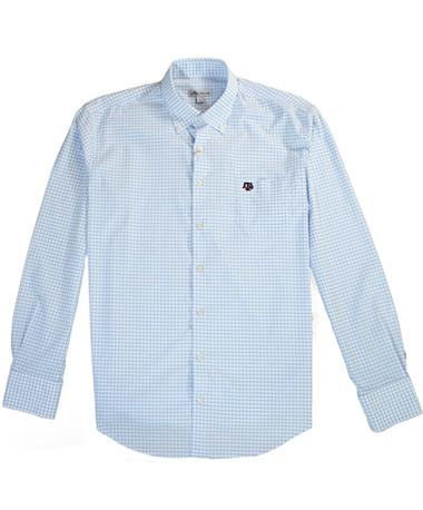 Texas A&M Peter Millar Tattersall Button Down - Cottage Blue - Laid Flat Cottage Blue