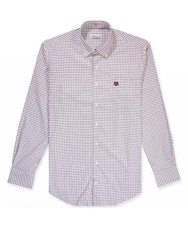Texas A&M Peter Millar Tattersall Button Down - Maroon - Front Maroon