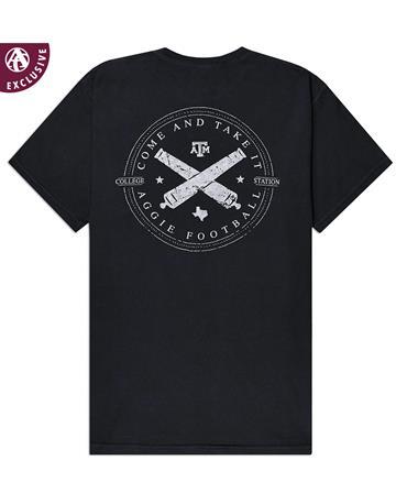 Texas A&M Aggie Football Cannons T-Shirt - Back C1717 BLACK