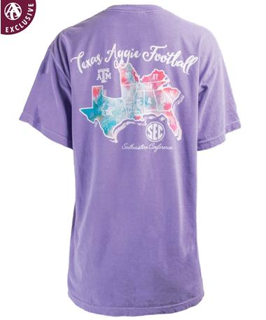 Texas A&M Aggies Watercolor SEC Country T-Shirt - Back C1717 VIOLET