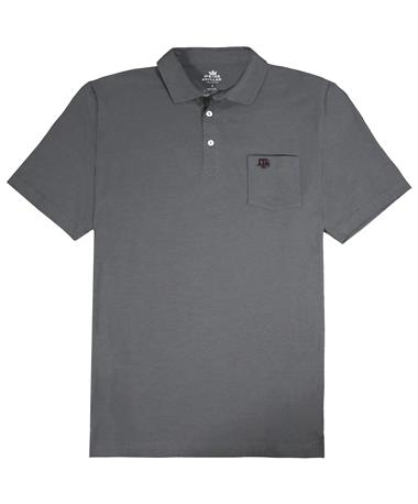 Texas A&M Peter Millar Seaside Polo - Front Collegiate Grey