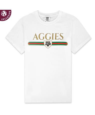 Texas A&M Aggies Golden Stripe T-Shirt - Front C1717 WHITE