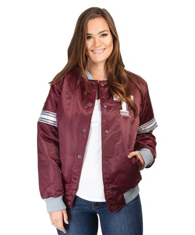 Starter Texas A&M Retro Letterman Jacket - Front Maroon