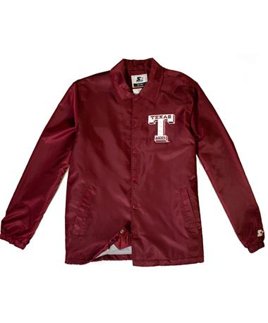 Starter Texas A&M Retro Coaches Jacket - Lay Flat Maroon