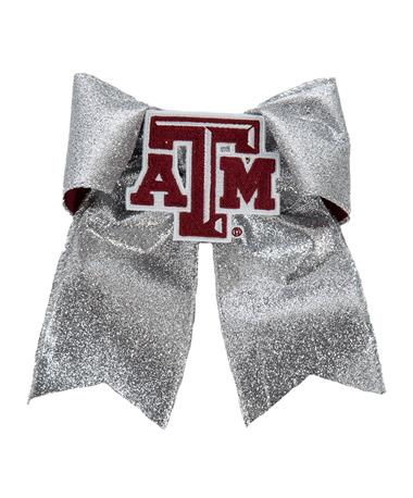 Texas A&M Aggies Glitzy Cheer Bow Silver