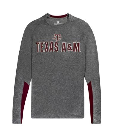 Texas A&M Colosseum Brisbane Long Sleeve Tee - Laid Flat Heather Charcoal