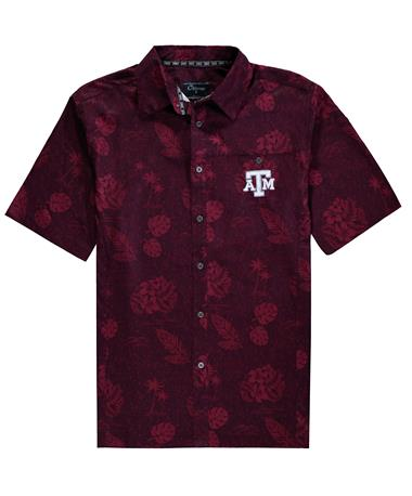 Texas A&M Colosseum Honolulu Camp Button Down - Front Maroon