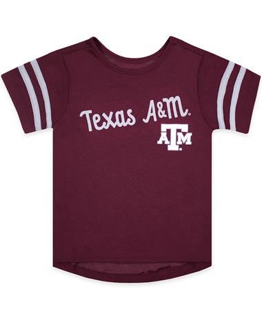 Texas A&M Toddler Girls Hamburg Tee - Front Maroon