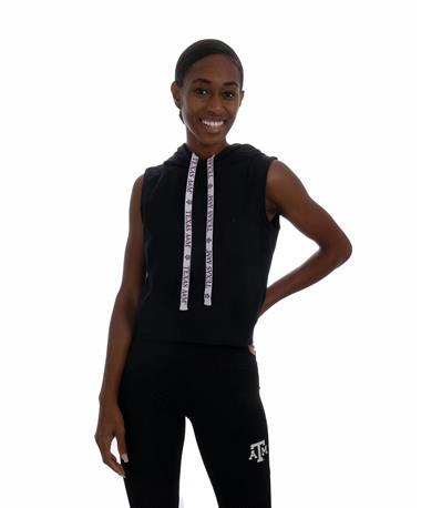 Sideline Kadyluxe Black Sleeveless Hoodie - Front Black