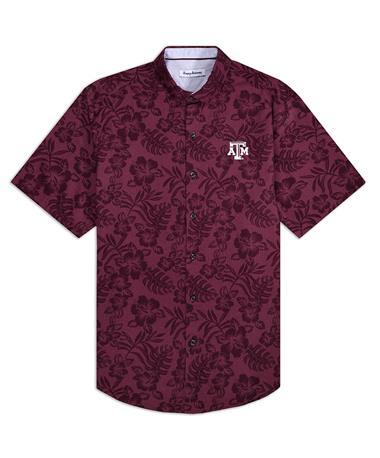 Texas A&M Tommy Bahama Sport Perfect Score Button Down - Front Maroon Berry