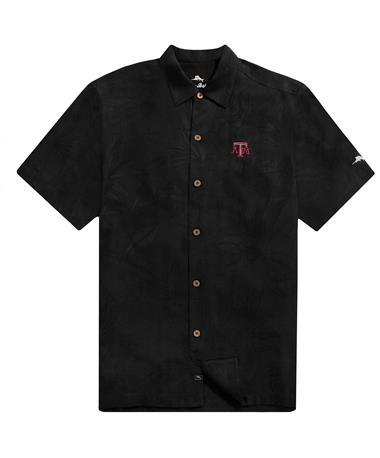 Texas A&M Tommy Bahama Al Fresco Tropics Jacquard Shirt - Black - Front Black