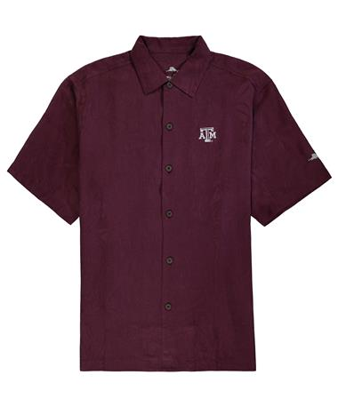 Texas A&M Tommy Bahama Al Fresco Tropics Button Down - Maroon Berry - Front Maroon Berry