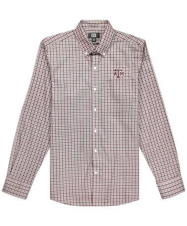 Texas A&M Cutter & Buck Long Sleeve Lakewood Check Button Down Shirt