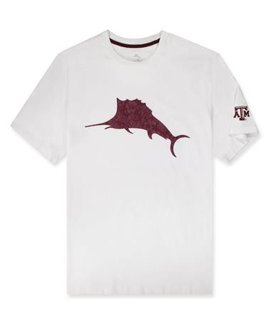 Texas A&M Tommy Bahama Sport Marlin Billboard Tee - Front White/Maroon Berry
