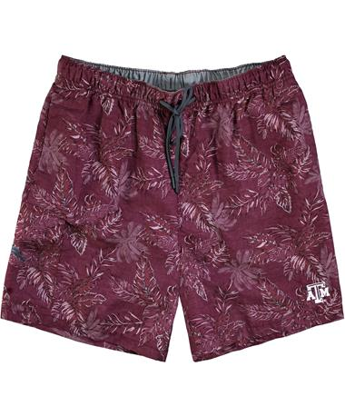 Texas A&M Tommy Bahama Sport Naples Faded Palms Swim Trunks - Front Maroon Berry