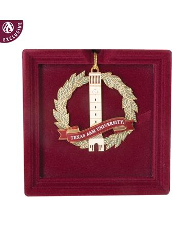 Texas A&M Albritton Bell Tower Wreath Ornament Gold