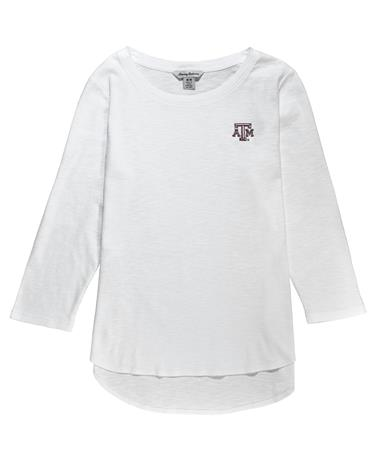 Texas A&M Tommy Bahama Ashby 3/4-Sleeve Tee - Front White