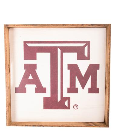 Texas A&M Square Wooden Tray White