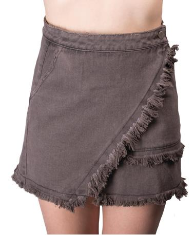Frayed Denim Skirt-front Denim