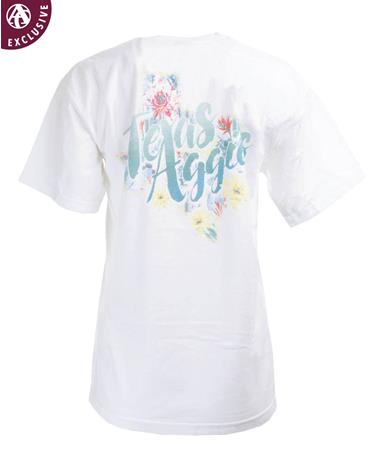 Texas A&M Aggies Floral Lone Star Texas T-Shirt C1717 White