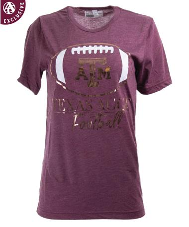 Texas A&M Aggies Rose Gold Football T-Shirt 3413C Maroon