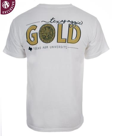 Texas A&M Aggies Ring Crest Gold T-Shirt C1717 White
