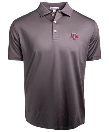 Texas A&M Peter Millar Solid Polo - Grey - Front Grey