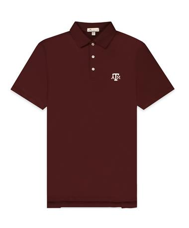 Texas A&M Peter Millar Solid Maroon Polo - Laid Flat Maroon