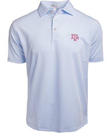 Peter Millar Texas A&M College Stripe Jersey - Cottage Blue - Front Cottage Blue