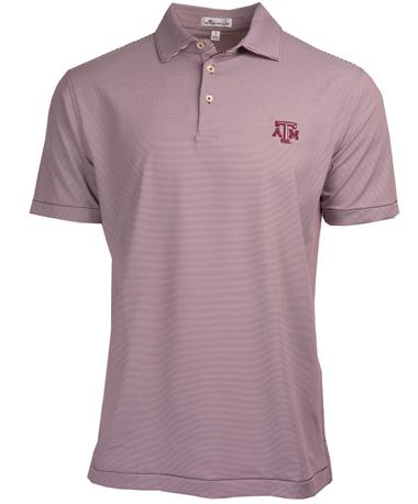Peter Millar Texas A&M College Stripe Jersey Polo - Maroon - Front Maroon