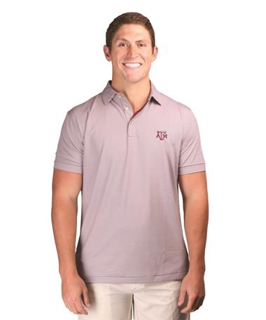 Peter Millar Texas A&M College Stripe Jersey Polo Maroon