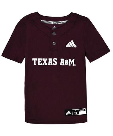 Texas A&M Adidas Diamond King Elite 2-Button Youth Baseball Jersey - Maroon/White - Front Maroon/White