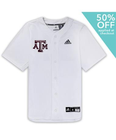 Texas A&M Adidas Diamond King Elite Full Button Jersey White
