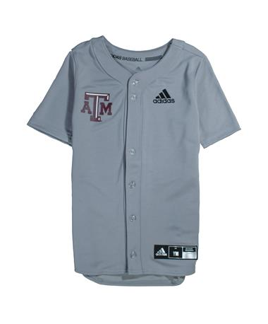 Texas A&M Adidas Diamond King Elite Full Button Youth Baseball Jersey - Grey - Front Light Onix
